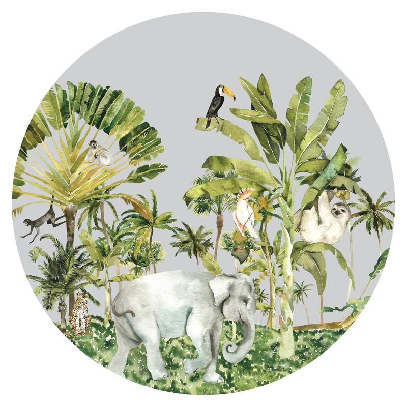 Stoff-Wandsticker 'Jungle' grau ca. 100cm
