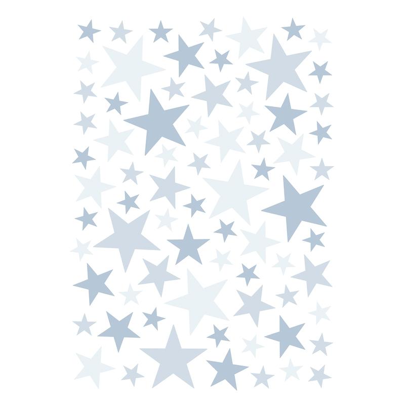Wandsticker 'Basic Sterne' hellblau 74-tlg.