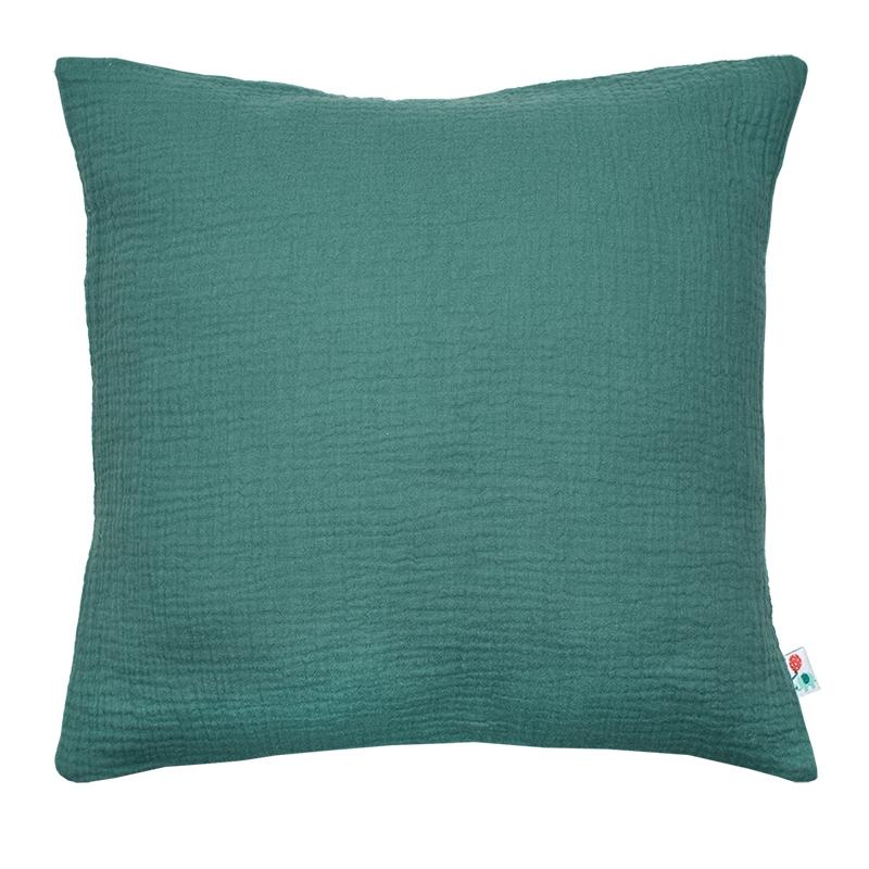 Kissenbezug Musselin jade handmade