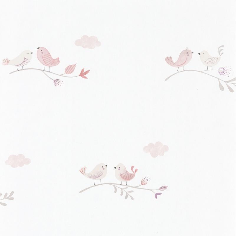 Tapete 'Rose & Nino' Vögel rosa/beige