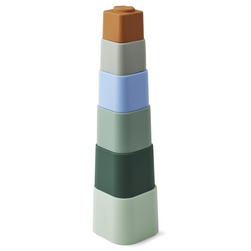 Stapelturm aus Silikon khaki/blau H 36cm