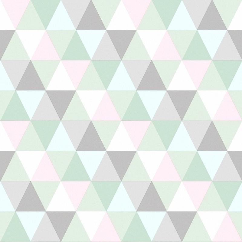 Vliestapete 'Triangle' mint/rosa