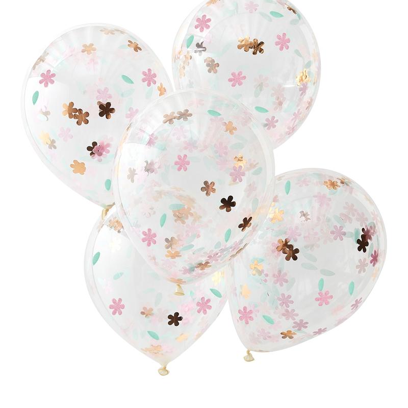 Luftballons mit Blumen-Konfetti 5 St.