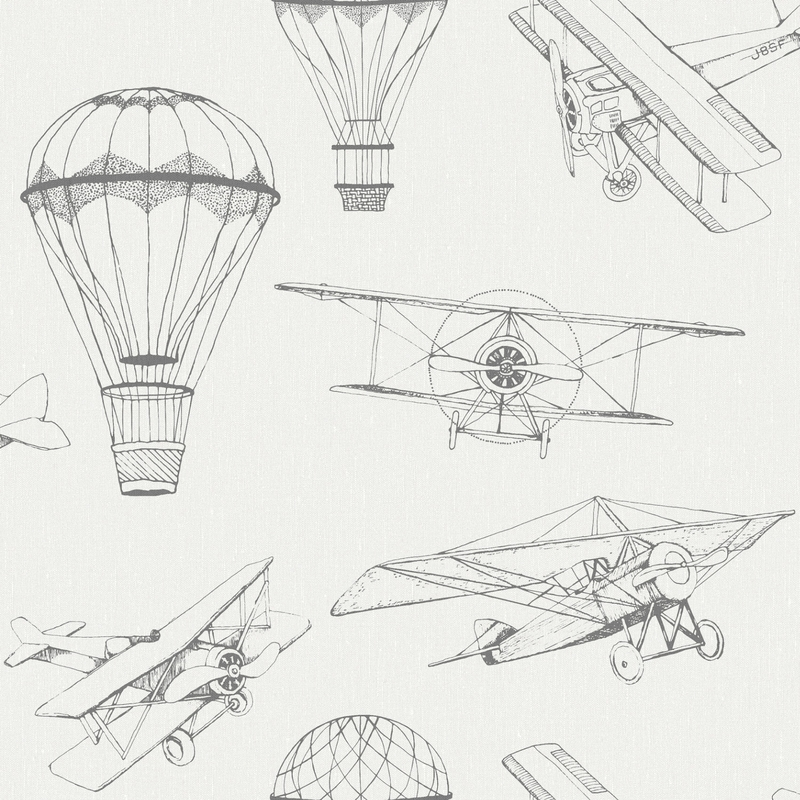 Tapete 'Newbie' Flugzeuge & Ballons weiß