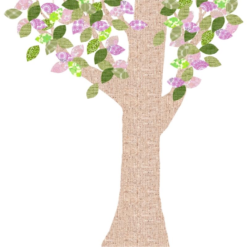 Tapetenbaum groß natur/rosa/grün