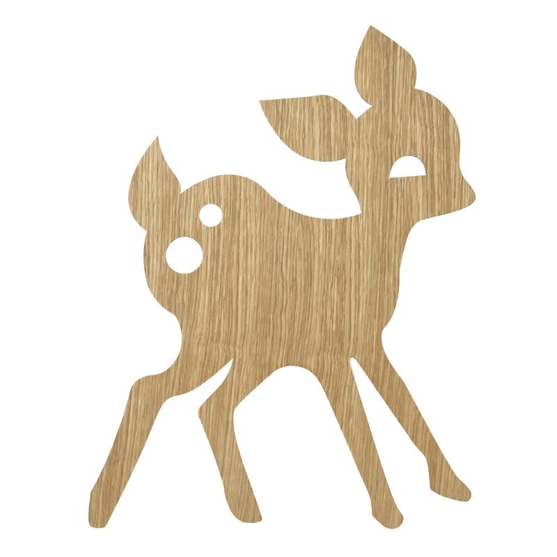 Wandlampe 'Rehlein' Holz natur 29x38cm