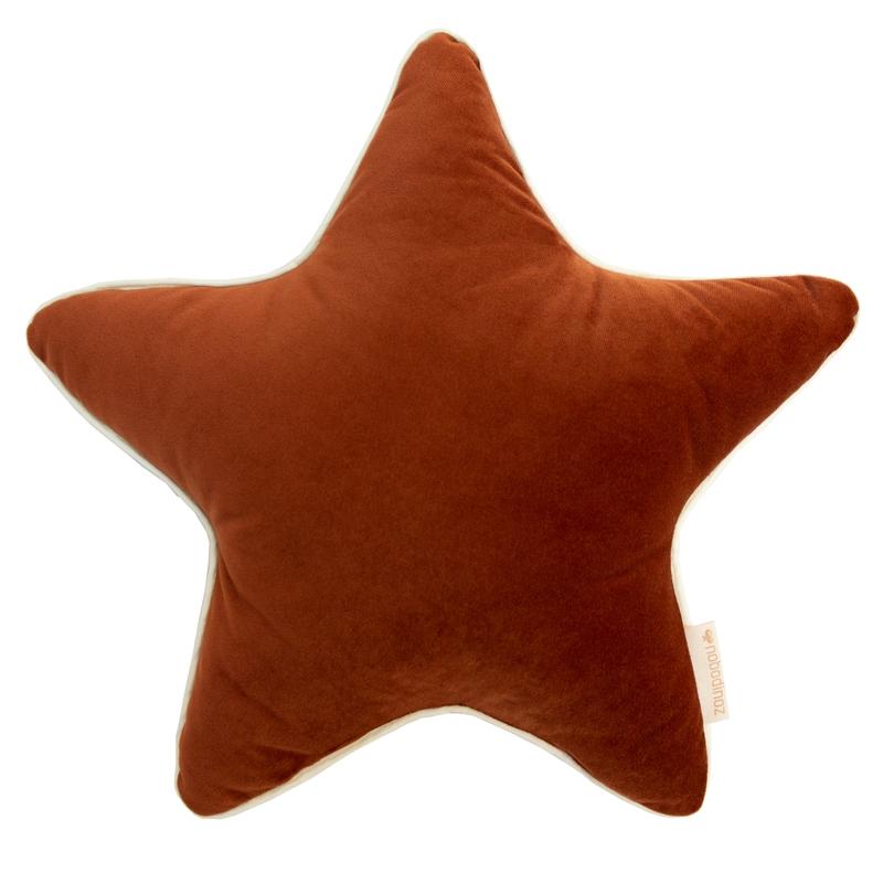 Bio Kissen 'Stern' aus Samt rostrot ca. 40cm