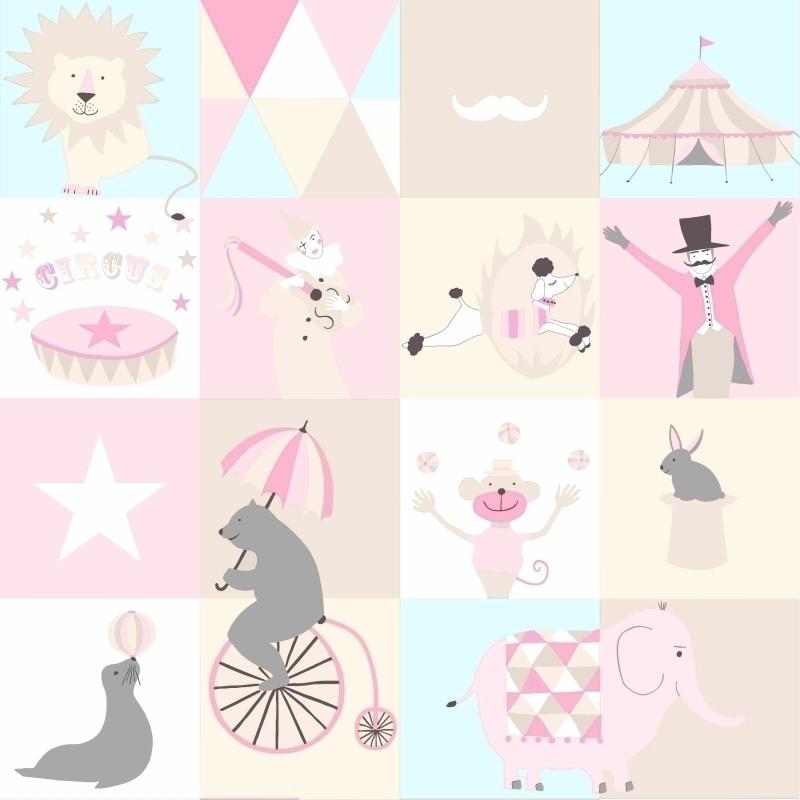 Vliestapete 'Zirkus' rosa/aqua/beige