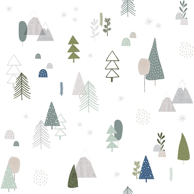 Vliestapete 'Wald' grau/grün/blau