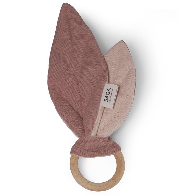Beißring 'Blätter' Musselin altrosa 18cm