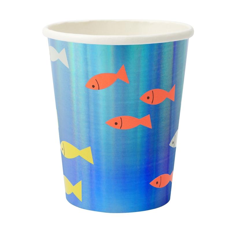Pappbecher 'Unterwasser' Fische blau 8 St.