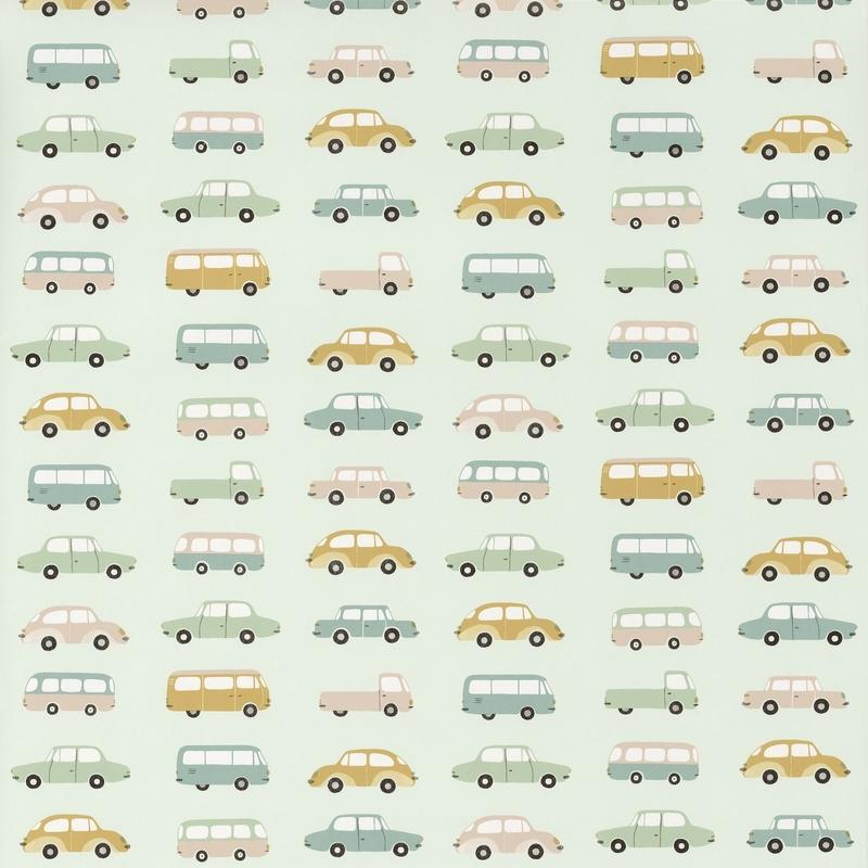 Tapete 'Happy Dreams' Autos mint/ocker
