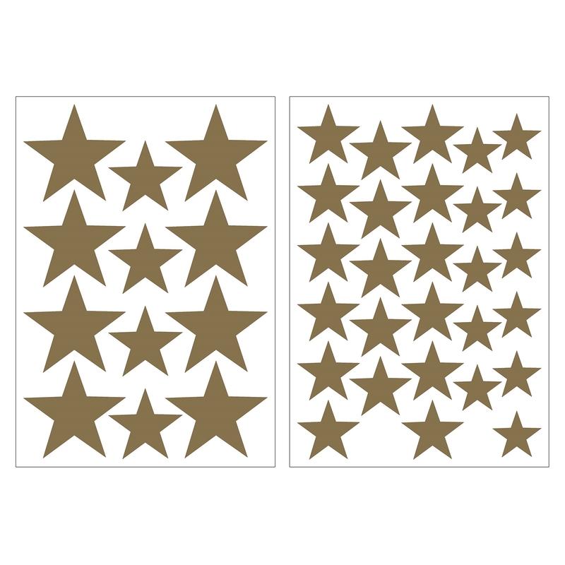 Wandsticker 'Sterne' goldbraun 40-tlg.