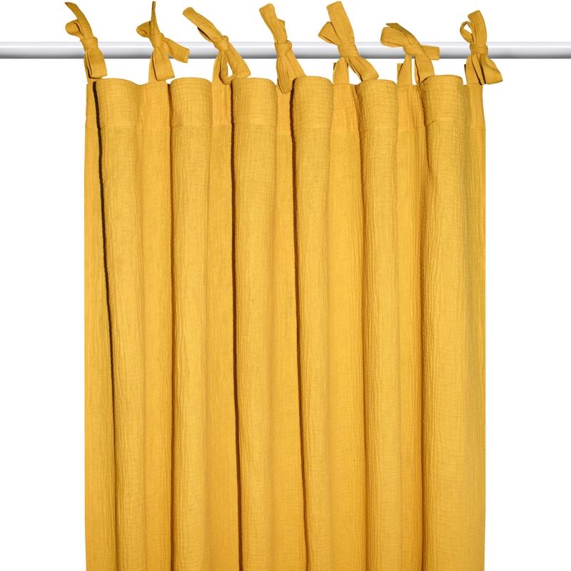 Vorhang Musselin senfgelb H 240cm handmade