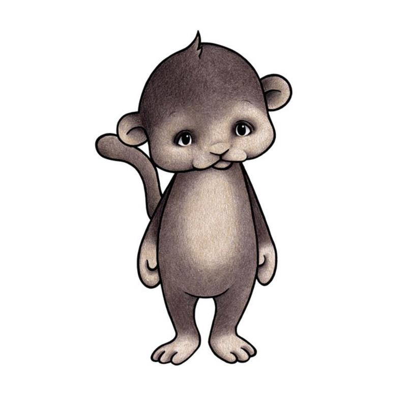 Tier-Wandsticker 'Affe' handgezeichnet