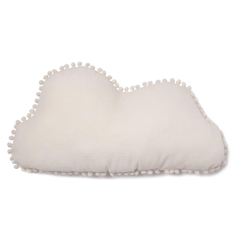 Bio Kissen 'Wolke' mit Pompons creme ca. 58cm