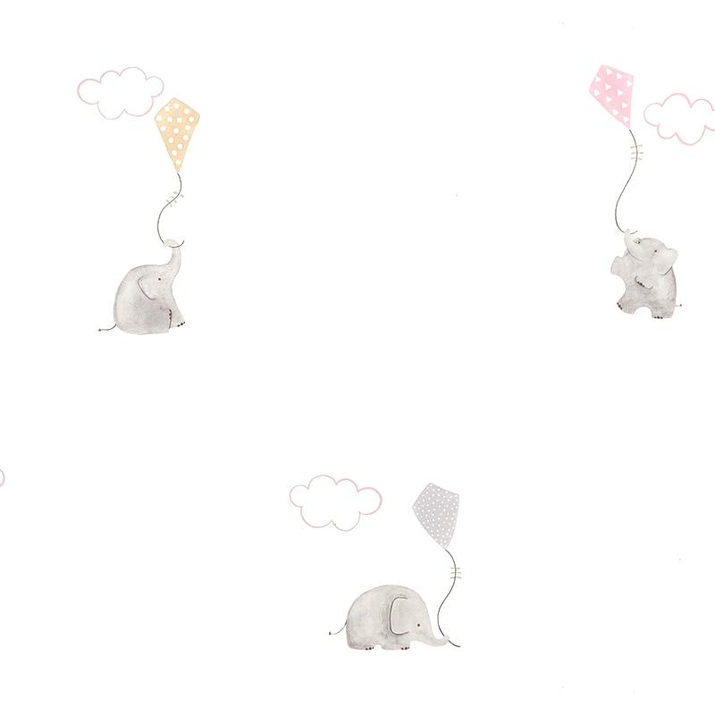Tapete 'My Little World' Elefanten' rosa/beige
