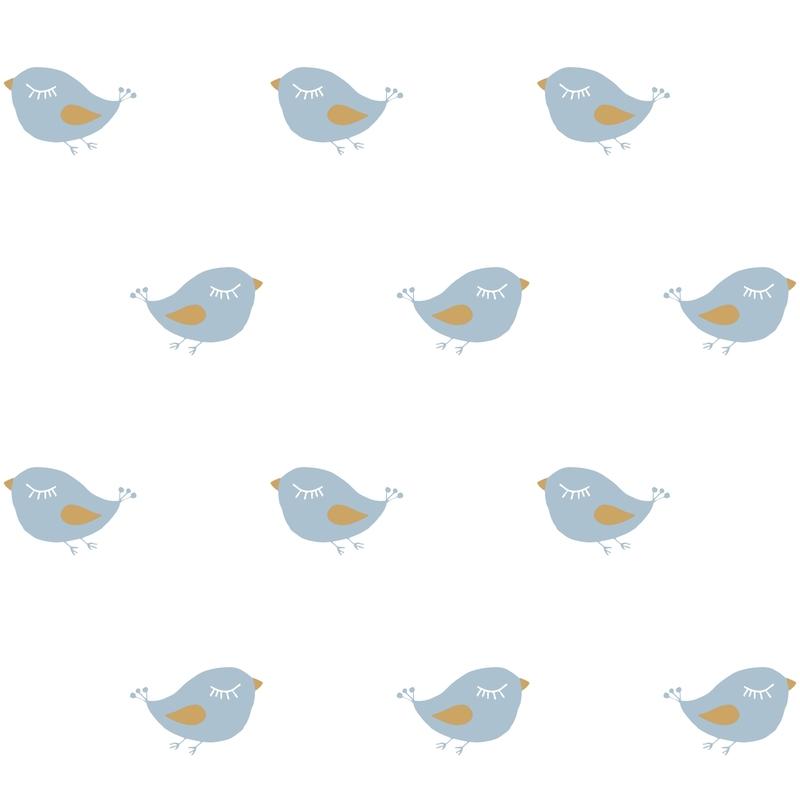 Tapete 'Vögelchen' weiß/jade/ocker