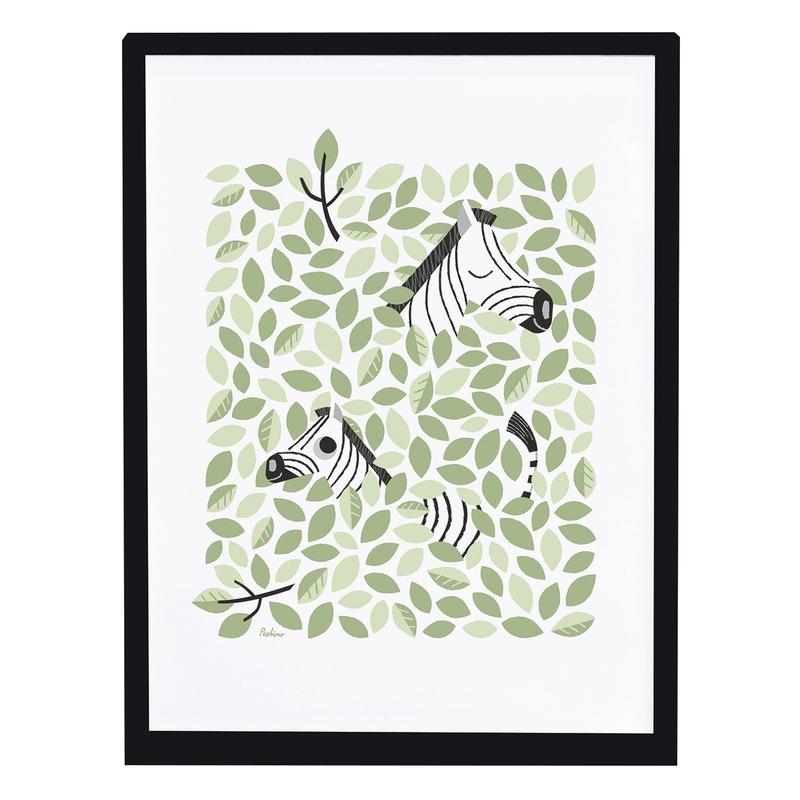 Bild 'Versteckt' Zebras grün 30x40cm
