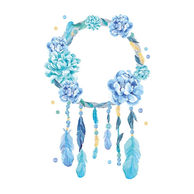 Wandsticker 'Traumfänger' blau/mint 86cm