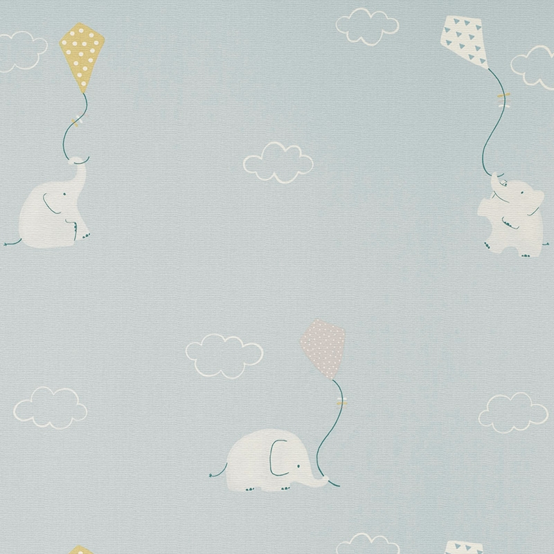 Stoff 'My Little World' Elefanten blau/senf
