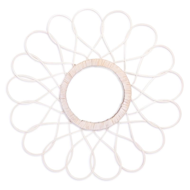 Sonnenspiegel 'Sunny' aus Rattan weiß 40cm
