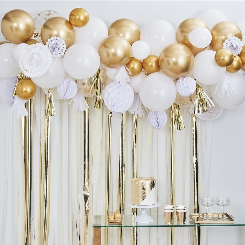 Fotobuch-Hintergrund Ballons gold 101-tlg.