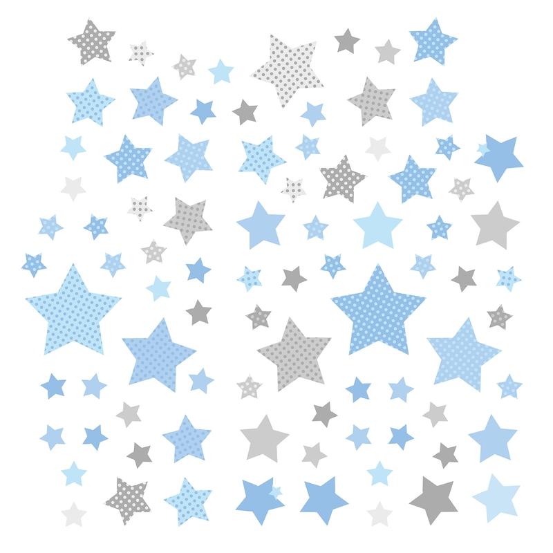 Wandsticker 'Sterne' blau/grau 68-tlg.