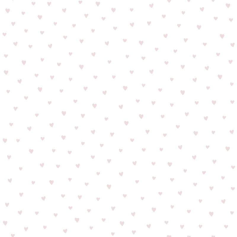 Tapete 'Herzen' weiß/rosa/silber