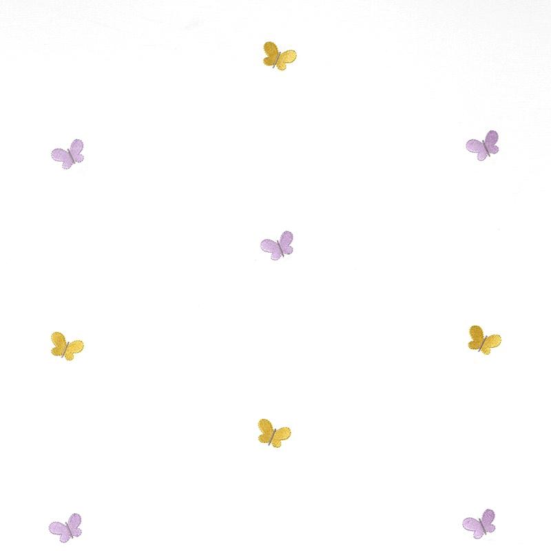 Stoff mit Stickerei 'Schmetterlinge' flieder/senf