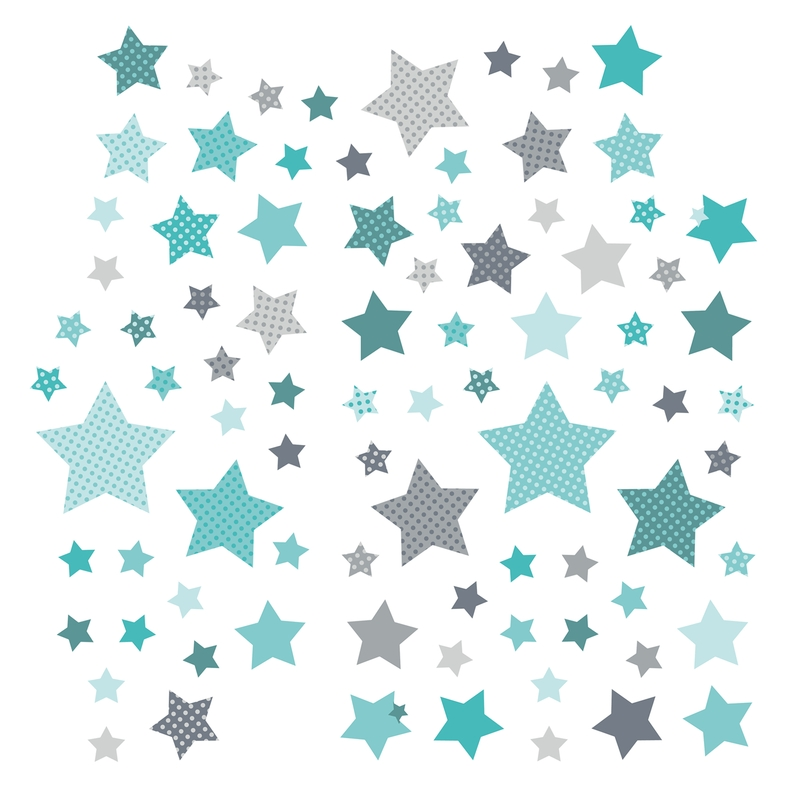 Wandsticker 'Sterne' mint/grau 68-tlg.