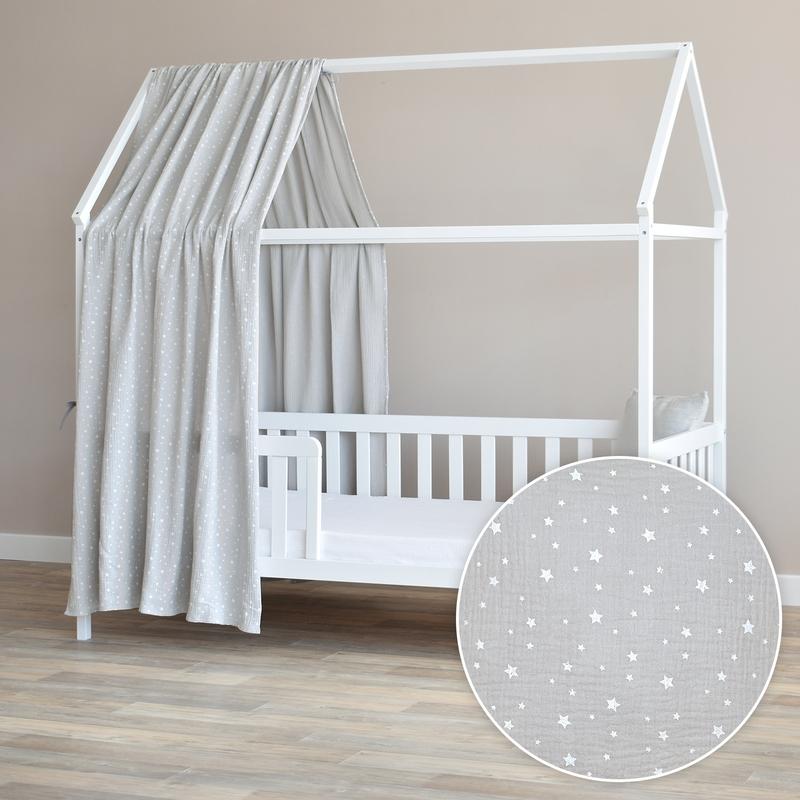 Hausbett-Himmel 'Sterne' hellgrau 350cm 1 Stück