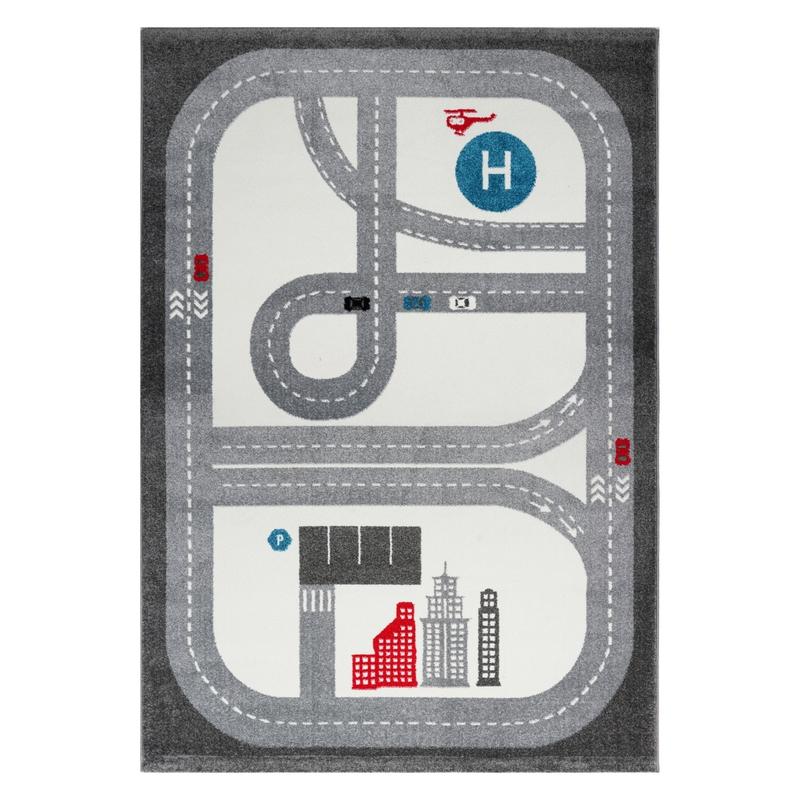 Spielteppich 'Playtime' Straßen grau 120x180cm