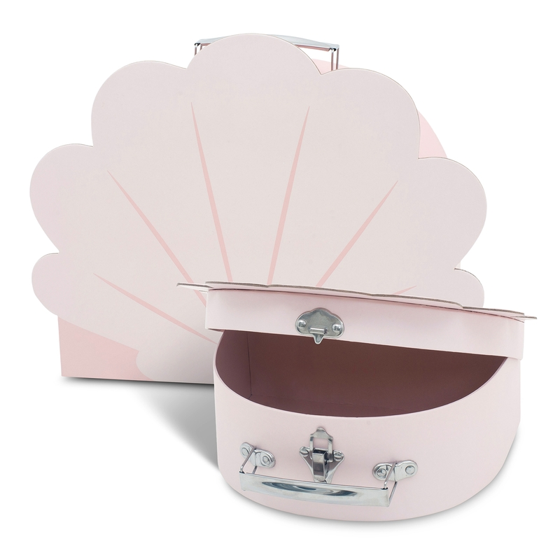 Kinderkoffer 'Muschel' rosa 2er Set