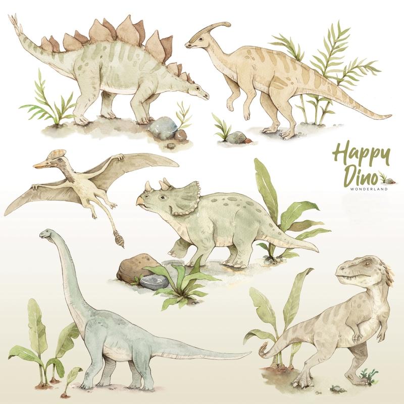 XL-Wandsticker 'Dinos' beige/grün