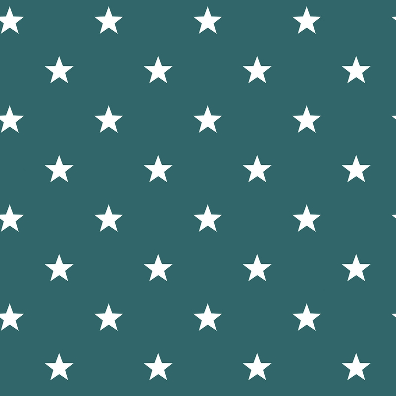 Vliestapete 'Sterne' petrolgrün/weiß
