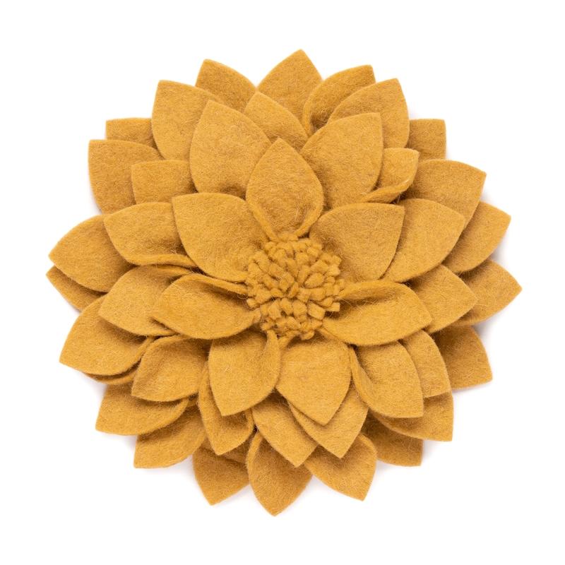 Wandblume aus Filz 'Kuba' senfgelb 30cm