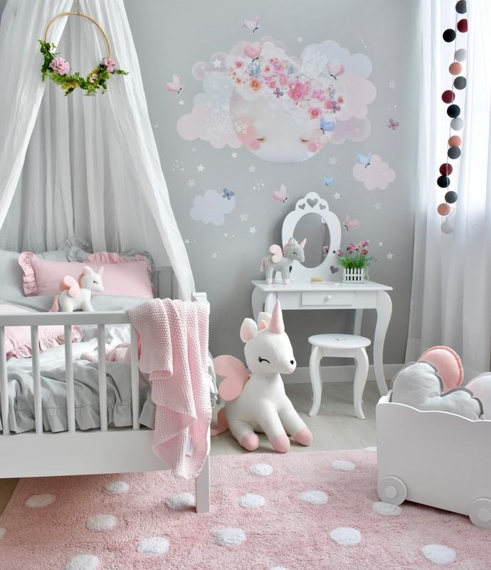Prinzessinnenzimmer in Rosa & Grau mit Schminktisch
