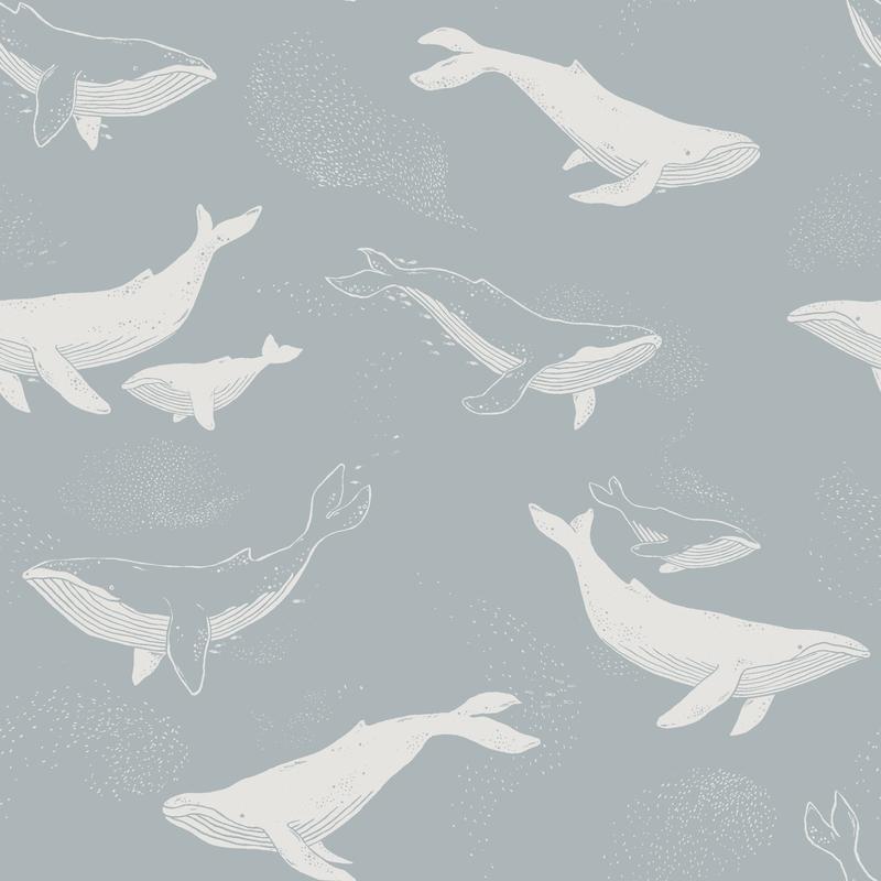 Tapete 'Newbie' Wale rauchblau