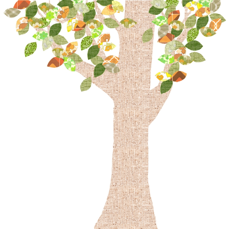 Tapetenbaum groß natur/orange/grün