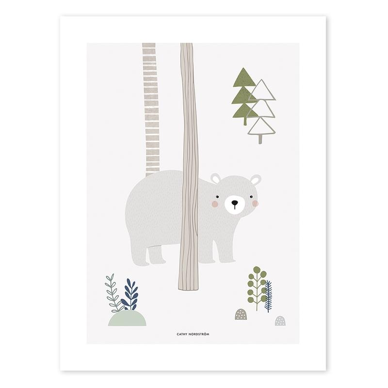 Poster 'Bär' beige/grün 30x40cm