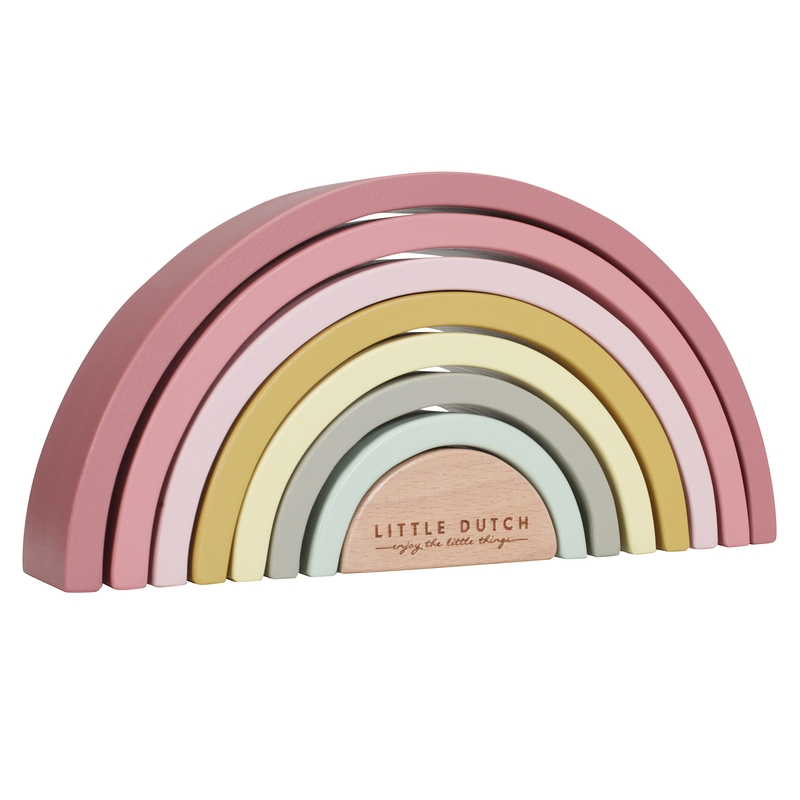 Regenbogen aus Holz rosa/senf 23cm ab 1 Jahr
