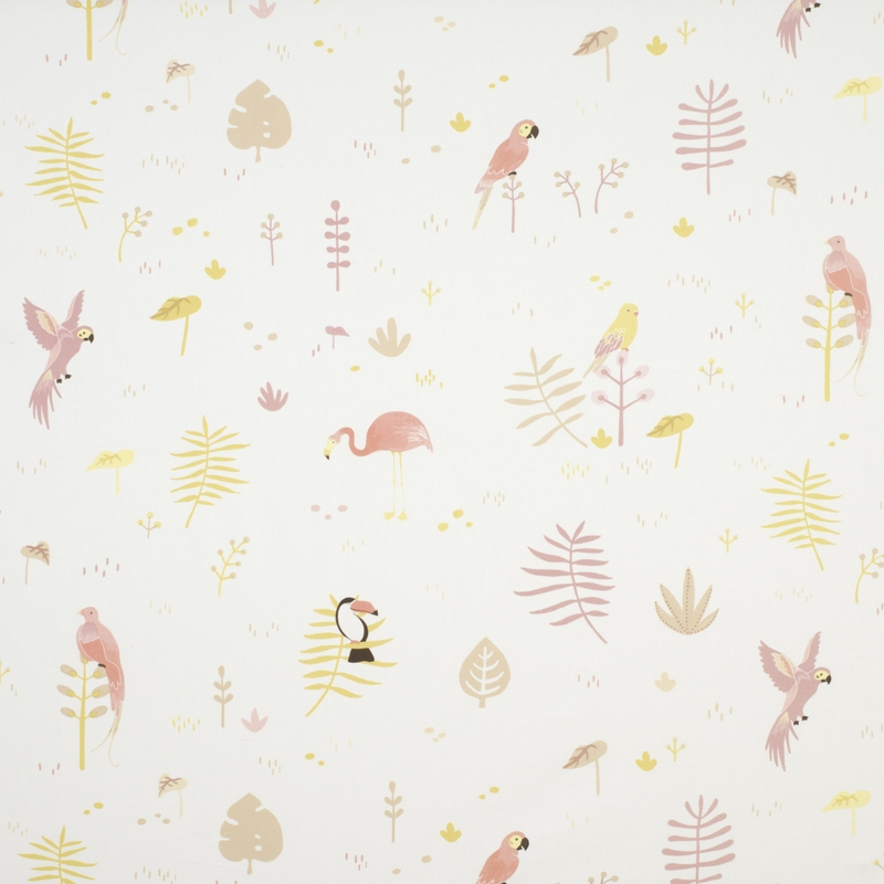 Stoff 'Happy Dreams' Vögel rosa/grün