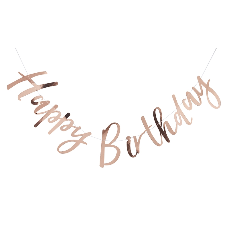 Girlande 'Happy Birthday' roségold 180cm