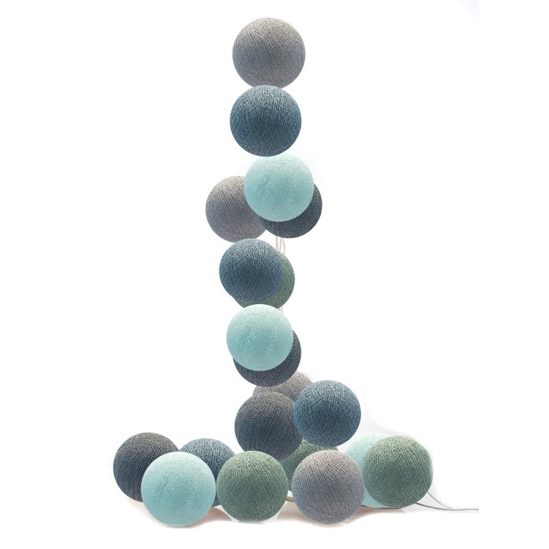 Lichterkette Cotton Balls LED aqua/rauchblau