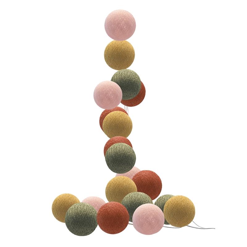 LED Lichterkette Cotton Balls rost/khaki