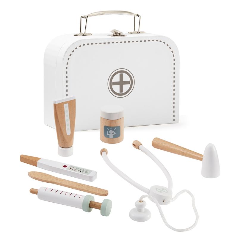 Arztkoffer aus Pappe/Holz weiß ab 3 Jahren