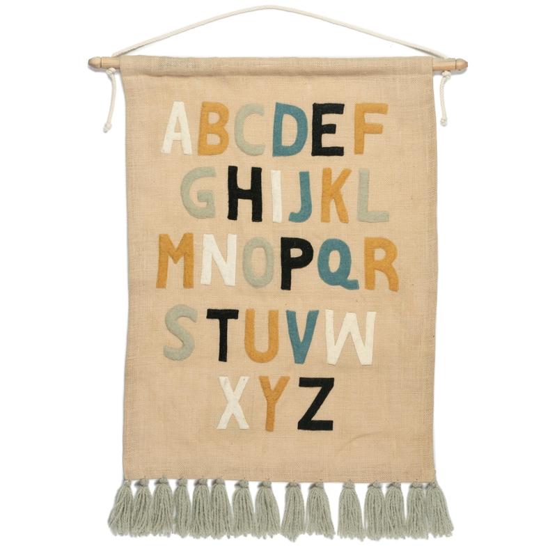 Wandteppich 'Alphabet' beige 50x70cm