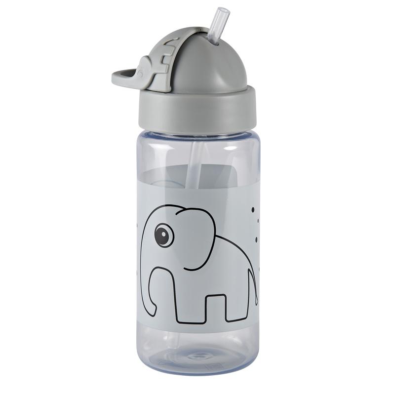 Trinkflasche mit Strohhalm 'Elphee Elefant' grau