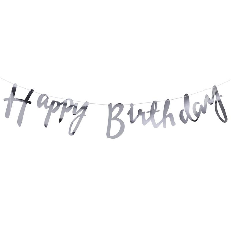 Girlande 'Happy Birthday' silber 150cm
